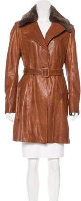 June Leather Rabbit Fur Coat