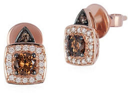 Levian Chocolatier 14K Strawberry Gold Vanilla and Chocolate Diamond Earrings, 0.67 TCW $2,270 thestylecure.com