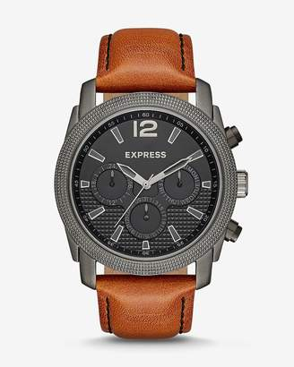 Express Rivington Textured Multi-Function Leather Watch - Cognac