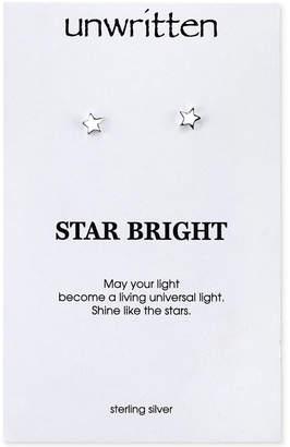 Unwritten Polished Star Stud Earrings in Sterling Silver