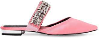 10mm Embellished Satin Mule Flats