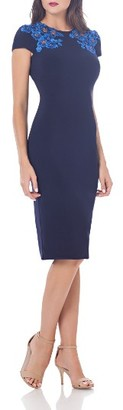 Women's Js Collections Embroidered Jersey Sheath Dress $258 thestylecure.com