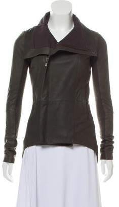 Veda High-Collar Leather Jacket