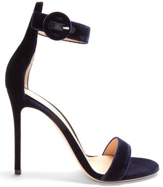 Gianvito Rossi Portofino 105 Velvet Sandals - Womens - Navy