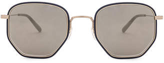 Oliver Peoples Alland in Navy, Brushed Gold & Grey Gold-Tone | FWRD