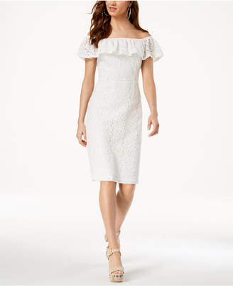 XOXO Juniors' Off-The-Shoulder Lace Sheath Dress