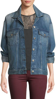 3x1 Bijou Lace-Up Chain Denim Jacket