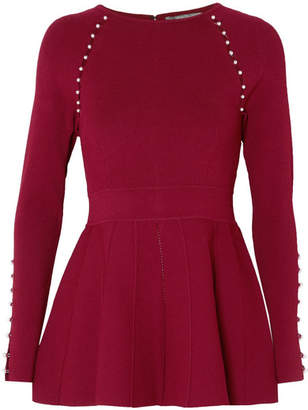 Lela Rose Faux Pearl-embellished Stretch-knit Top - Burgundy