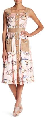 TOV Burlap Contrast Button Printed Dress