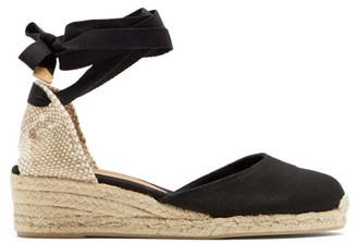 Castaner Carina 30 Canvas & Jute Espadrille Wedges - Womens - Black
