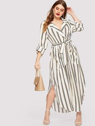Shein Plus V-neck Tie Waist Curved Hem Striped Dress