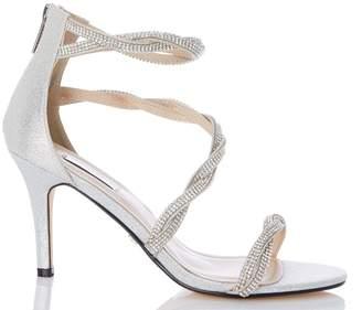 b70b9e277c4 Dorothy Perkins Womens  Quiz Silver Diamante Bridal Shoes