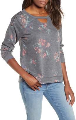 Wit & Wisdom Lace Up Detail Floral Sweatshirt