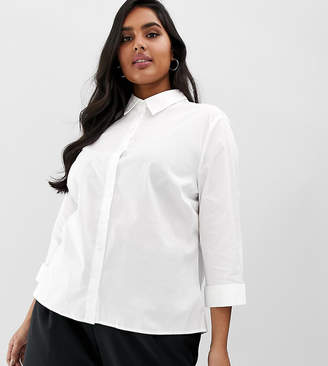 Asos DESIGN Curve 3/4 sleeve shirt in stretch cotton