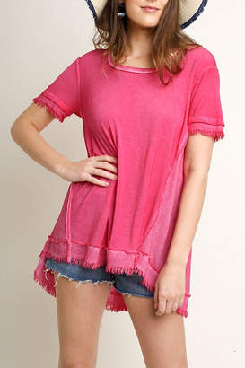 Umgee USA Washed Frayed Top
