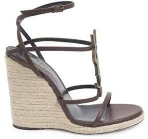 595b2c7eb99 Saint Laurent Women s Cassandra Leather Espadrille Wedge Sandals - Black -  Size 42 ...