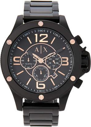 Armani Exchange AX1513 Black & Rose Gold-Tone Watch