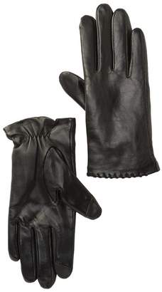Fownes Bros Suede Whipstich Trim Leather Gloves with Faux Fur Lining