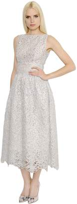 Shiny Spiral Lace & Organdy Dress