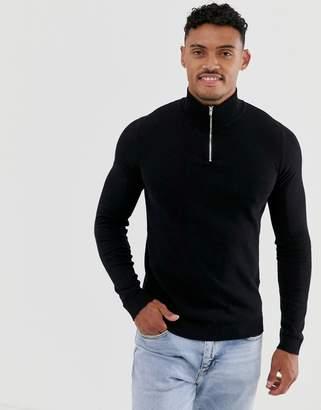 Asos Design DESIGN cotton half zip jumper in black