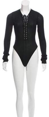 David Koma Lace-Up Long Sleeve Bodysuit w/ Tags