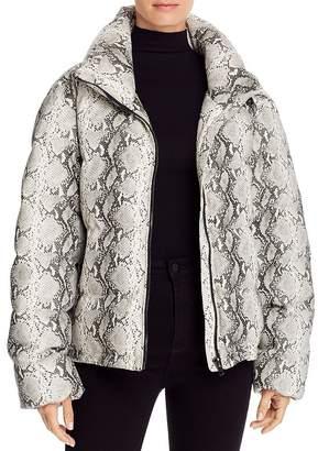 Glamorous Snake Print Faux Leather Puffer Jacket