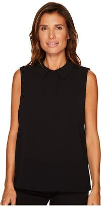 CeCe Sleeveless Textured Pleat Front Collared Blouse Women's Blouse