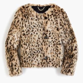J.Crew Cropped faux fur coat in snow leopard
