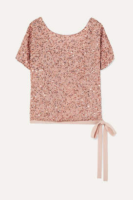 Jenny Packham Grosgrain-trimmed Sequined Chiffon Top - Blush