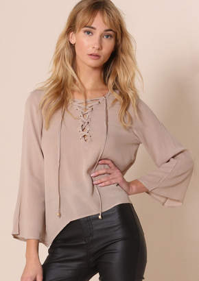 Missy Empire Gloria Beige Lace Up Bell Sleeve Blouse