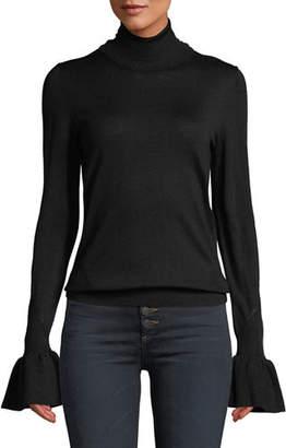 Veronica Beard Tol Bell-Sleeve Wool Turtleneck Sweater