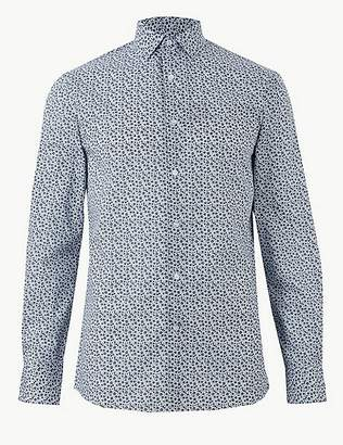 Marks and Spencer Cotton Blend Skinny Fit Shirt