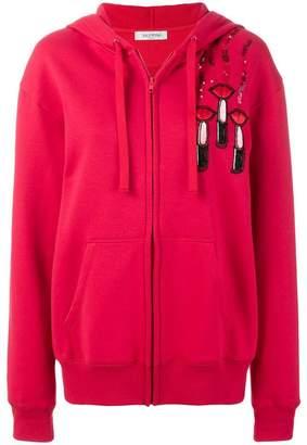Valentino lipstick print hoodie