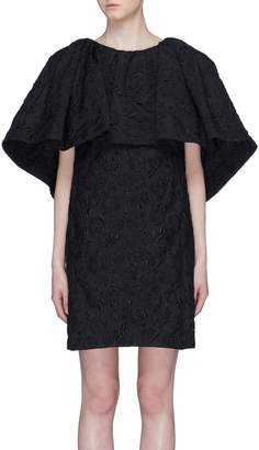 Calvin Klein Ruffle drape rose cloque jacquard dress