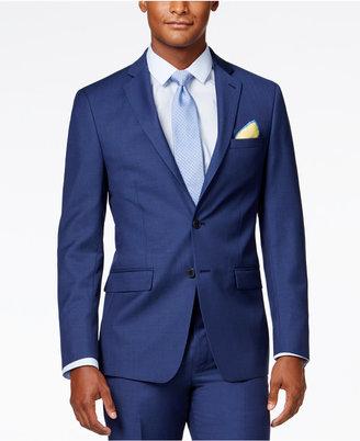 Calvin Klein X-Fit Blue Solid Slim Fit Jacket $425 thestylecure.com