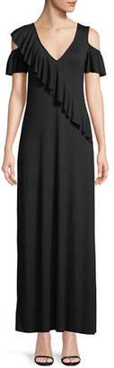 Rachel Pally Amelia Open-Shoulder Ruffle Jersey Maxi Dress, Plus Size