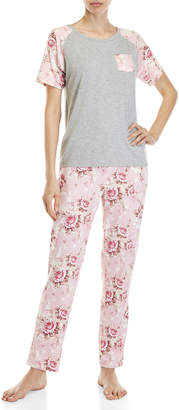 Flora Nikrooz Two-Piece Rose Printed Pajama Set