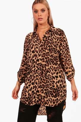boohoo Plus Leopard Print Oversized Shirt