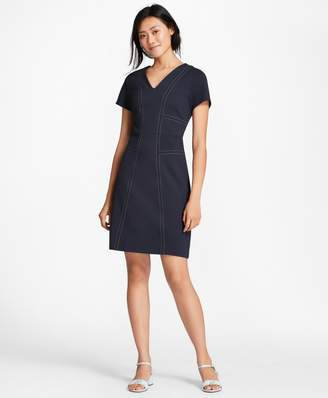 Brooks Brothers Topstitched Ponte Knit Shift Dress