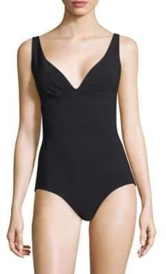 Chiara Boni One-Piece Deep V-Neck Swimsuit
