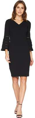 Calvin Klein V-Neck Sheath Dress with Faggotting Trim Bell Sleeve CD8C19MH Women's Dress