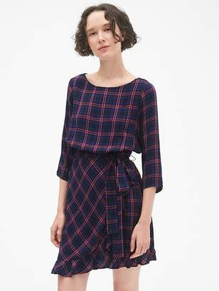 Gap Plaid Faux-Wrap Ruffle Hem Dress