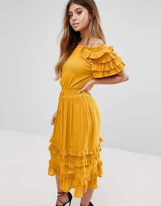 Boohoo Ruffle Midi Dress $39 thestylecure.com