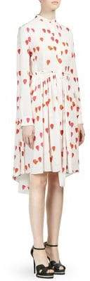 Alexander McQueen Silk Petal Print Shirt Dress