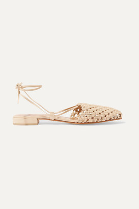 LOQ Costa Lace-up Woven Leather Flats - Beige