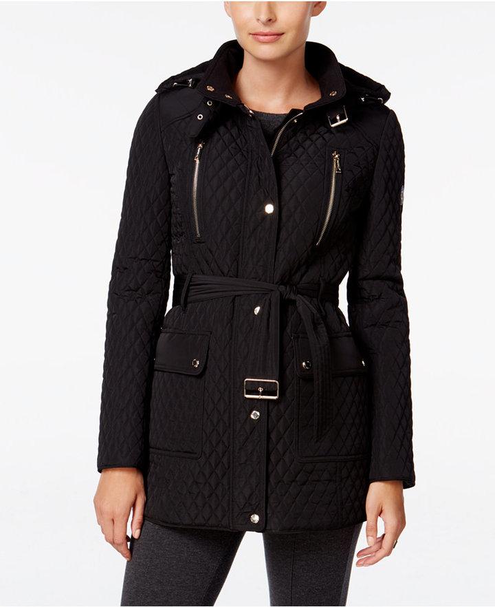 Calvin KleinCalvin Klein Hooded Belted Quilted Coat