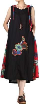 Mordenmiss Women's Summer Sleeveless Printing Hoodie Dress L