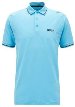 BOSS Hugo Slim-fit golf polo shirt in breathable stretch fabric XL Turquoise