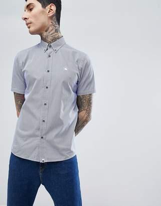 Pretty Green Hendry Short Sleeve Gingham Shirt In Navy