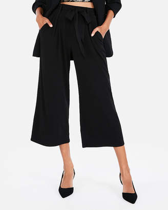 Express Mid Rise Belted Sash Tie Waist Culottes